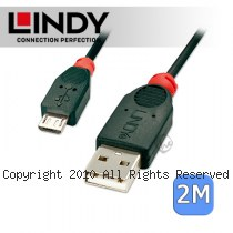 LINDY 林帝 USB 2.0 A/公 轉 Micro USB/公 傳輸線 2m (31665)