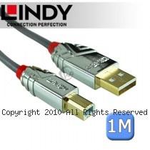 LINDY 林帝 CROMO USB2.0 Type-A/公 to Type-B/公 傳輸線 1m (36641)