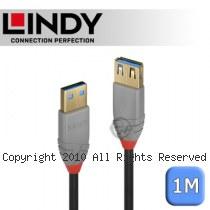 LINDY 林帝 ANTHRA USB3.0 Type-A 公 to A母 延長線 1m (36761)