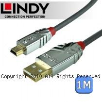LINDY 林帝CROMO 鉻系列 USB2.0 Type-A/公 to Mini-B/公 傳輸線 1m (36631)