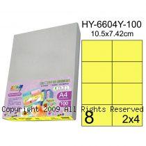 彩之舞【HY-6604Y-100】A4 鮮黃色 8格(2x4)直角 標籤紙 100張
