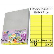 彩之舞【HY-6605Y-100】A4 鮮黃色 16格(2x8)直角 標籤紙 100張