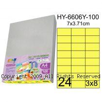 彩之舞【HY-6606Y-100】A4 鮮黃色 24格(3x8)直角 標籤紙 100張
