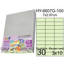 彩之舞【HY-6607G-100】A4 嫩綠色 30格(3x10)直角 標籤紙 100張