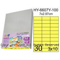 彩之舞【HY-6607Y-100】A4 鮮黃色 30格(3x10)直角 標籤紙 100張