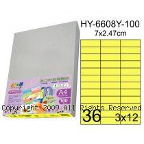 彩之舞【HY-6608Y-100】A4 鮮黃色 36格(3x12)直角 標籤紙 100張