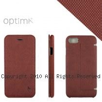 Optima iPhone7 側掀站立型皮套 針織系列 咖啡紅
