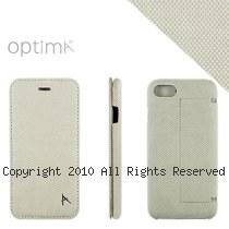 Optima iPhone7/8 側掀站立型皮套 針織系列 米白