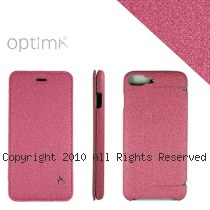 Optima iPhone7/8 Plus 側掀站立型皮套 亞麻系列 玫瑰紅