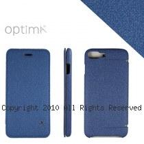 Optima iPhone7/8 Plus 側掀站立型皮套 亞麻系列 靛青