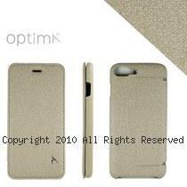 Optima iPhone7/8 Plus 側掀站立型皮套 亞麻系列 米白