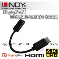 LINDY 林帝 DisplayPort公 轉 HDMI母 4K 轉換線 (41718)