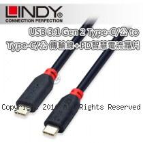 LINDY 林帝 USB3.1 Gen 2 Type-C/公 to 公 傳輸線 1m (41901) 帶PD晶片