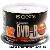SONY 16X White Printable DVD-R純白全滿版可印片 50片