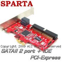 SPARTA 台灣製 2埠SATAII+IDE PCI-E介面 擴充卡