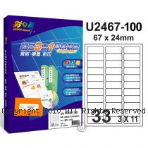 彩之舞 【U2467-100】 A4 3合1 33格(3x11) 標籤紙 100張
