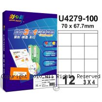 彩之舞 【U4279-100】 A4 3合1 12格(3x4) 標籤紙 100張