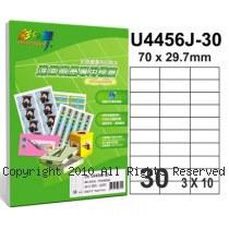 彩之舞【U4456J-30】A4 30格(3x10) 進口噴墨專用標籤紙 30張