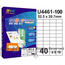 彩之舞 【U4461-100】 A4 3合1 40格(4x10) 標籤紙 100張