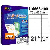 彩之舞 【U4668-100】 A4 3合1 21格(3x7) 標籤紙 100張