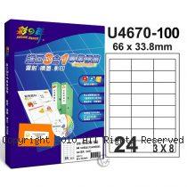 彩之舞 【U4670-100】 A4 3合1 24格(3x8) 標籤紙 100張