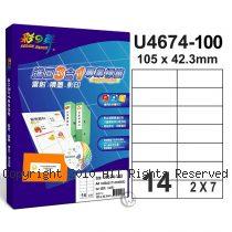 彩之舞 【U4674-100】 A4 3合1 14格(2x7) 標籤紙 100張