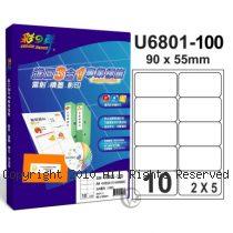 彩之舞 【U6801-100】 A4 3合1 10格(2x5) 標籤紙 100張