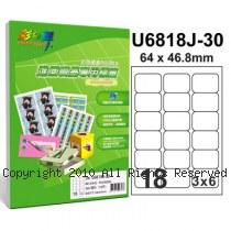 彩之舞【U6818J-30】A4 18格(3x6) 進口噴墨專用標籤紙 30張