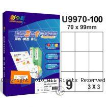 彩之舞 【U9970-100】 A4 3合1 9格(3x3) 標籤紙 100張
