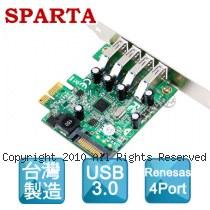 SPARTA 4埠 USB3.0 直立式接頭 NEC(Renesas) 晶片 PCI-E介面 擴充卡
