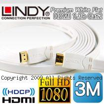 LINDY 林帝 A公對A公 Premium White 白色 扁平 HDMI 1.3b  Cat2 連接線 3M (41163)