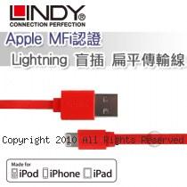 LINDY 林帝 Apple MFi認證 Lightning 盲插 扁平傳輸線 橘色 (31394)