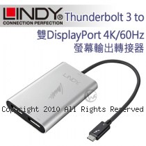 LINDY 林帝 Thunderbolt 3 to 雙DisplayPort 4K/60Hz螢幕輸出轉接器 (43901)