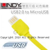 LINDY 林帝 USB2.0 to MicroUSB 雙面可插 彩色扁線 1m 黃色 (30906)