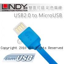 LINDY 林帝 USB2.0 to MicroUSB 雙面可插 彩色扁線 1m 藍色 (30921)