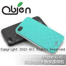 obien  時尚晶璨 金屬拉絲質感 棋盤格紋 iPhone4/4S 硬殼 保護背蓋