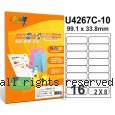 彩之舞【U4267C-10】A4 3合1 16格(2x8) 透明標籤紙 10張