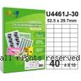 彩之舞【U4461J-30】A4 40格(4x10) 進口噴墨專用標籤紙 30張