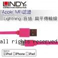 LINDY 林帝 Apple MFi認證 Lightning 盲插 扁平傳輸線 粉色 (31395)