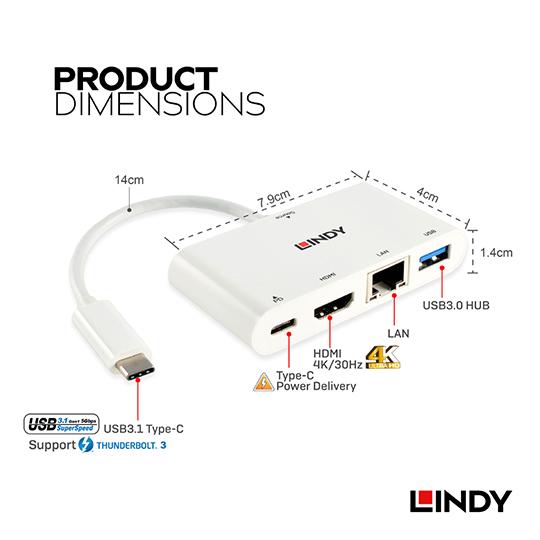 LINDY 林帝 主動式USB 3.1 Type-C to HDMI/網路/HUB/PD 迷你工作站 (43239)