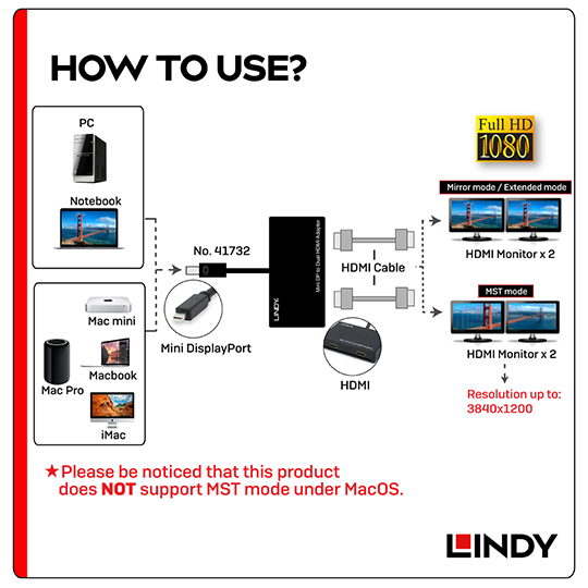 LINDY 林帝 主動式 Mini DisplayPort to 2埠HDMI 轉接器 (41732)