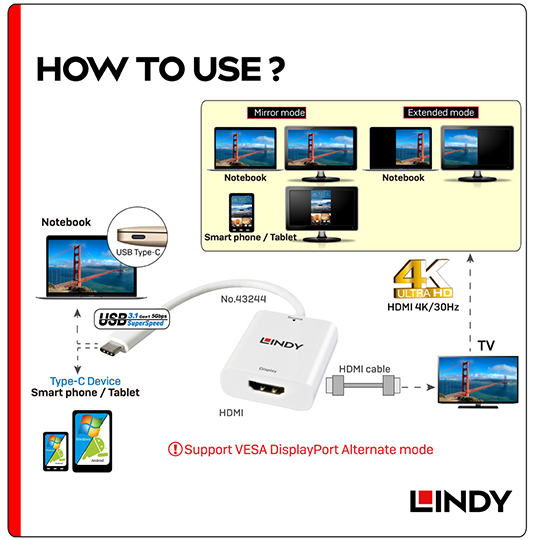 LINDY 林帝 主動式 USB3.1 Type-C to HDMI1.4 4K/30Hz轉接器(43244)