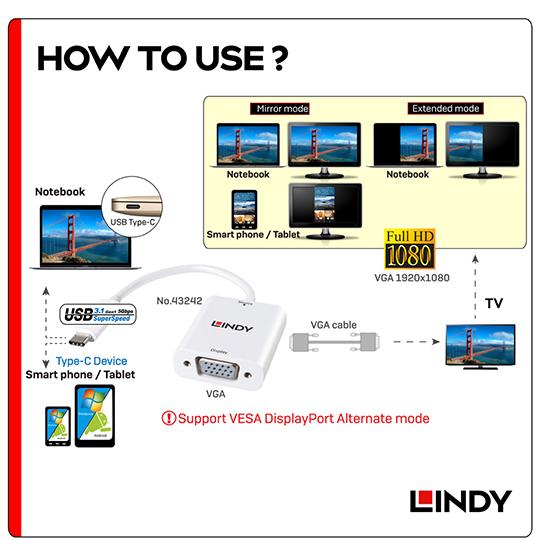 LINDY 林帝 主動式 USB3.1 Type-C to VGA轉接器 (43242)