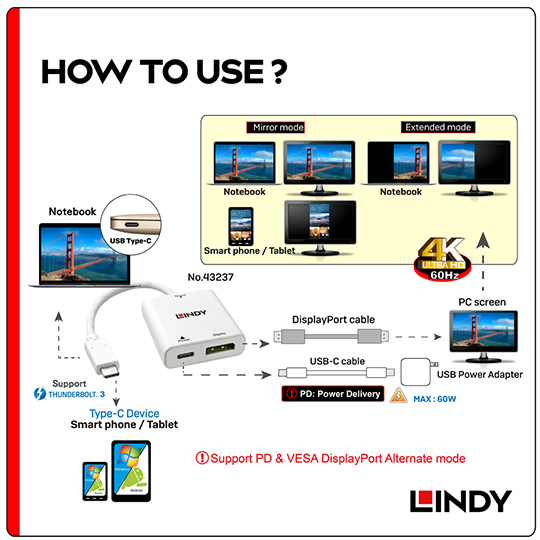 LINDY 林帝 主動式 USB3.1 Type-C to DisplayPort轉接器帶PD功能 (43237)