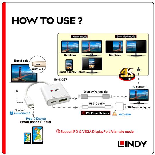 LINDY 林帝 主動式 USB3.1 Type-C to DisplayPort轉接器帶PD功能 (43237)
