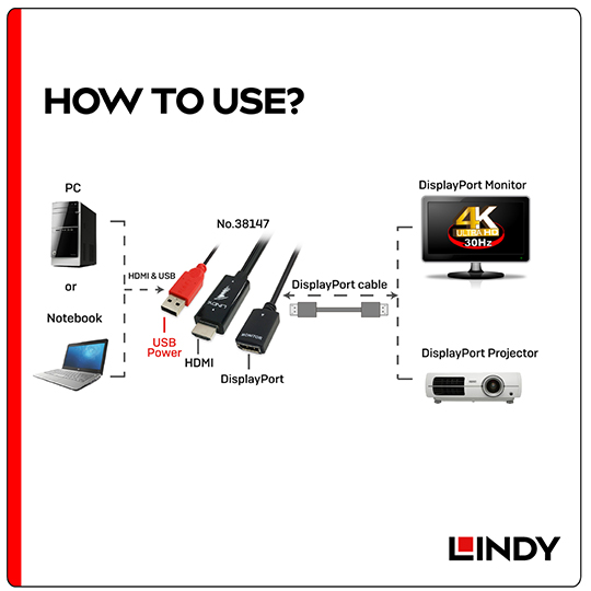 LINDY 林帝 HDMI to DisplayPort 4K轉接器帶USB電源 (38147)
