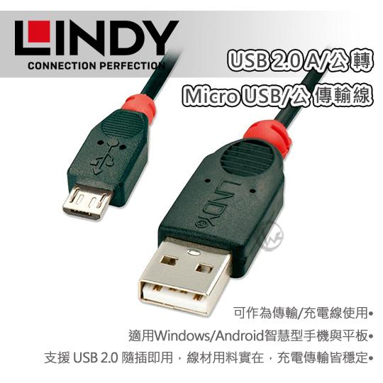 LINDY_林帝_USB_2.0_A/公_轉_Micro_USB/公_傳輸線_1m_(31664)