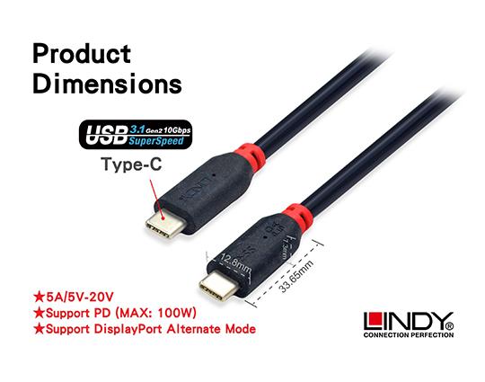 LINDY 林帝 USB3.1 Gen 2 Type-C/公 to 公 傳輸線 1m (41901) 帶PD晶片  01