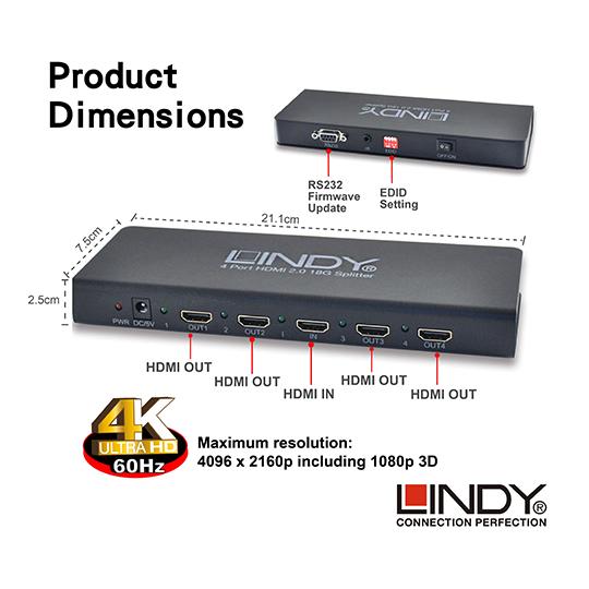 LINDY 林帝 HDMI2.0 UHD 18G 4K@60Hz 一進四出 影像分配器 (38241) 01