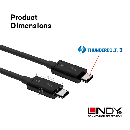 LINDY 林帝 被動式 Thunderbolt 3 INTEL 原廠認證傳輸線, 0.5m (41555) 01